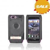 Original Trident Kraken AMS Motorola Droid RAZR Hard Case Over Silicone w/ Screen Protector, Kickstand, &amp; Belt-Clip, AMS-RAZR-PK - Pink/ Black