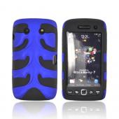 Original Nex Blackberry Torch 9860 9850 Rubberized Hard Fishbone on Silicone Case w/ Screen Protector, BB9570FB06 - Blue/ Black