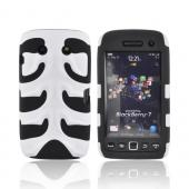 Original Nex Blackberry Torch 9860 9850 Rubberized Hard Fishbone on Silicone Case w/ Screen Protector, BB9570FB21 - White/ Black
