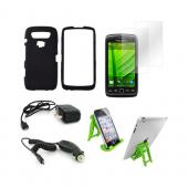 Blackberry 9850, 9860 Essential Bundle Package w/ Black Rubberized Hard Case, 2 Pack Screen Protector, Green Lime 3Feet Stand, Car &amp; Travel Charger