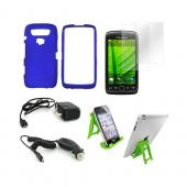 Blackberry 9850, 9860 Essential Bundle Package w/ Blue Rubberized Hard Case, 2 Pack Screen Protector, Green Lime 3Feet Stand, Car &amp; Travel Charger