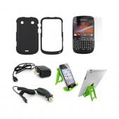 Blackberry 9900, 9930 Essential Bundle Package w/ Black Rubberized Hard Case, Screen Protector, Green Lime 3Feet Stand, Car &amp; Travel Charger