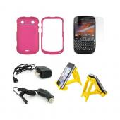 Blackberry 9900, 9930 Essential Bundle Package w/ Rose Pink Rubberized Hard Case, Screen Protector, Sunshine Yellow 3Feet Stand, Car &amp; Travel Charger