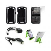 Blackberry Curve 9360 Essential Bundle Package w/ Black Crystal Silicone Case, 2 Pack Screen Protector, Green Lime 3Feet Stand, Car &amp; Travel Charger