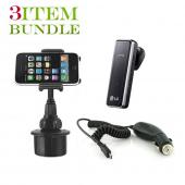 Blackberry Torch Bundle Package - Macally Cup Holder, Car Charger &amp; Blackberry Visor Mount Speakerphone - (Roadster Combo)