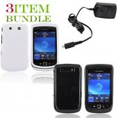 Blackberry Torch Bundle Package - White Hard Case, Silicone Case & Blackberry Travel Charger - (Essential Combo)