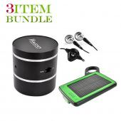 Blackberry Torch Bundle Package - Solar Power Charger & Car Charger, Blackberry Stereo Headset & Vulcan Phantom Portable Speaker - (Traveller Combo)