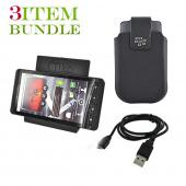 Blackberry Torch Bundle Package - Micro USB Charge n' Sync Data Cable, Blackberry Leather Pouch &amp; Tiko Folding Stand - (Workaholic Combo)