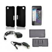 Essential Bundle Package w/ Black Rubberized Hard Case, Screen Protector, Leather Pouch, Car & Travel Charger for Blackberry Z10