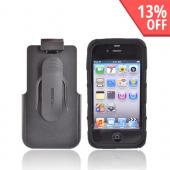 Original Seidio Innocase Active Apple iPhone 4 Rubberized Hard Case on Silicone and Holster w/ Belt Clip Combo, BD2-HR6IPH4P-BK - Black