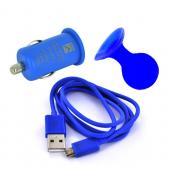Micro USB Brilliant Blue Charging Bundle w/ Blue Micro USB Charge/ Sync Data Cable, Blue USB Car Charger Adapter, & Blue Suction Ball Stand
