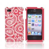 Exclusive BNA Nature AT&amp;T/Verizon Apple iPhone 4 Aluminum Hard Case &amp; Screen Protector, Exclusively from AccessoryGeeks! BNA-002-PA - Red (Paisley)