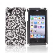 Exclusive BNA Nature AT&amp;T/Verizon Apple iPhone 4 Aluminum Hard Case &amp; Screen Protector, Exclusively from AccessoryGeeks! BNA-008-PA - Black (Paisley)