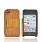 &quot;Exclusive&quot; Tphone Eco-Design AT&amp;T/ Verizon Apple iPhone 4, iPhone 4S Hand-Finished Wood Hard Case Stand w/ Screen Protector - Brown Teak Wood