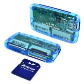 15 in 1 USB Memory Card Reader w/ Mini USB Cable for SD, Compact Flash - Transparent Blue