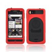 Original Trident Cyclops II Motorola Droid X MB810/ X2 Anti-Skid Hard Cover Over Silicone Case w/ Screen Protector, CY2-DX2-RD - Red/ Black
