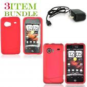 HTC Droid Incredible Bundle Package - Red Hard Case, Silicone Case & Travel Charger - (Essential Combo)