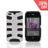AT&amp;T/ Verizon iPhone 4, iPhone 4S Bling Hard Fishbone on Silicone Case - Silver/ Black