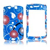 Blackberry Storm 2 9550 Hard Case - Red Flowers on Blue