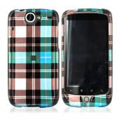 Google Nexus One Hard Case - Plaid Pattern of Blue, Brown, Green