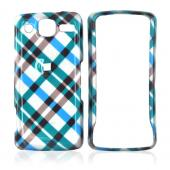 LG Expo GW820 Hard Case - Checkered Design of Blue, Green, Brown, Silver