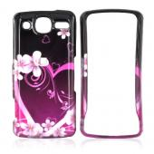 LG Expo GW820 Hard Case - Pink Heart and Flowers on Black