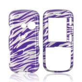 LG Rumor 2 LX265 Hard Case w/ Belt Clip - Zebra on Purple