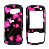 LG LX370 Hard Case - Pink Floating Hearts on Black
