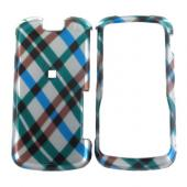Motorola Clutch i465 Hard Case - Checkered Plaid Pattern of Blue, Green, Brown, Silver