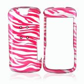 Motorola Clutch i465 Hard Case - Pink Zebra on Silver