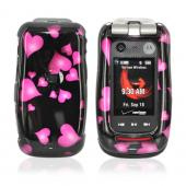 Motorola Barrage & Quantico W845 Hard Case - Floating Hearts on Black