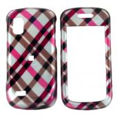 Samsung Solstice A887 Hard Case - Checkered Plaid Pattern of Pink, Hot Pink, Brown, Grey
