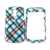 Samsung Jack i637 Hard Case - Checkered Plaid Pattern of Blue, Green, Brown, Silver