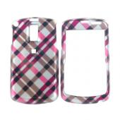 Samsung Jack i637 Hard Case - Checkered Plaid Pattern of Pink, Hot Pink, Brown, Grey