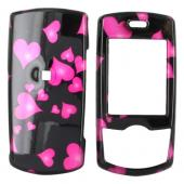 Samsung T659 Hard Case - Floating Hearts on Black