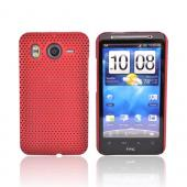 HTC Inspire 4G Rubberized Hard Back Cover Case - Mesh Red