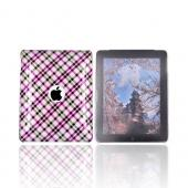 Apple iPad (1st Gen) 1st Hard Cover Case - Checkered Plaid Pattern of Pink, Brown, Silver