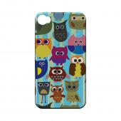 Geeks Designer Line (GDL) Owl Series Apple iPhone 4/4S Slim Hard Back Cover - Colorful Owls on Blue/ Green Stripes