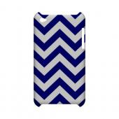 Navy Blue on White Geeks Designer Line Zig Zag Series Slim Hard Case for Apple iPod Touch 4