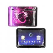 Motorola Xoom Hard Back Cover Case - Hot Pink/ Purple Flowers &amp; Hearts