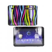 Motorola Xoom Hard Back Cover Case - Rainbow Zebra on Black