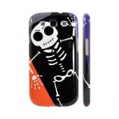 Geeks Designer Line (GDL) Samsung Galaxy S3 Slim Hard Back Cover - Dancing Skeleton on Black/Orange/Purple