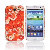 Geeks Designer Line (GDL) Samsung Galaxy S3 Slim Hard Back Cover - Orange/ White Gummy Rings