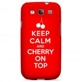 Red Cherry On Top Geeks Designer Line Keep Calm Series Slim Hard Case for Samsung Galaxy S3