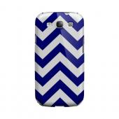 Navy Blue on White Geeks Designer Line Zig Zag Series Slim Hard Case for Samsung Galaxy S3