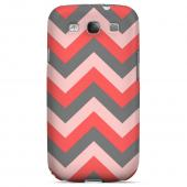 Red on Gray on Pink Geeks Designer Line Zig Zag Series Slim Hard Case for Samsung Galaxy S3