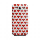 Red Hearts on White Geeks Designer Line Heart Series Slim Hard Case for Samsung Galaxy S3