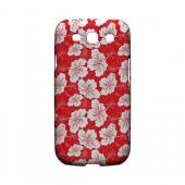 White Hibiscus on Red - Geeks Designer Line Floral Series Hard Case for Samsung Galaxy S3