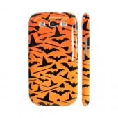 Geeks Designer Line (GDL) Samsung Galaxy S3 Slim Hard Back Cover - Witch Hat/Broom/Bat on Orange