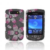 Blackberry Torch 9800 Bling Hard Case - Pink Cherry Blossom on Black